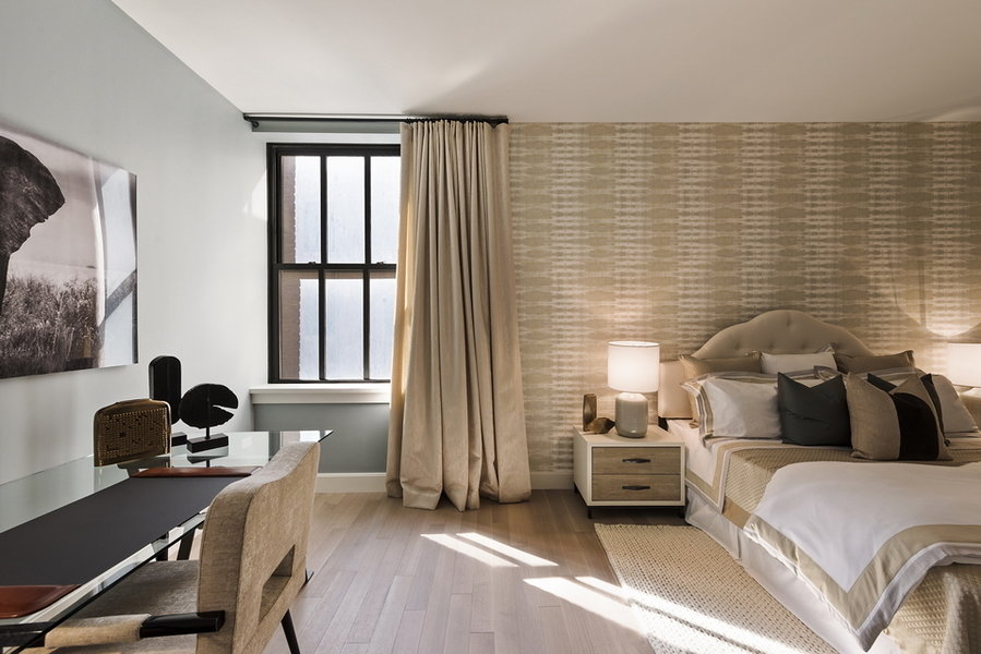 Designed by Taylor Spellman, this guest bedroom at One Hundred Barclay Street in Tribeca has a luxuri