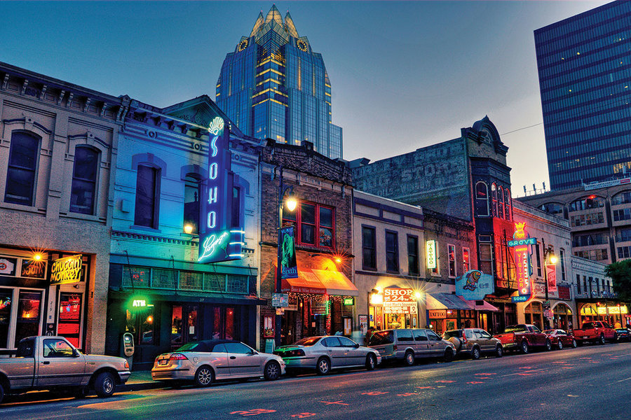 """Austin, left, has a robust tech-driven economy, but its """"downtown"""" vibe and red-hot live music scene"""