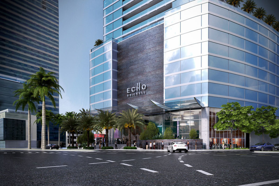 Rendering: Echo Brickell, a 60-story glass luxury residential tower overlooking Biscayne Bay