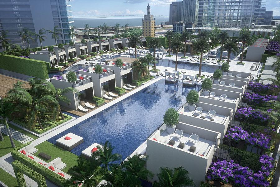 La piscina y cabañas en el PARAMOUNT Miami Worldcenter.