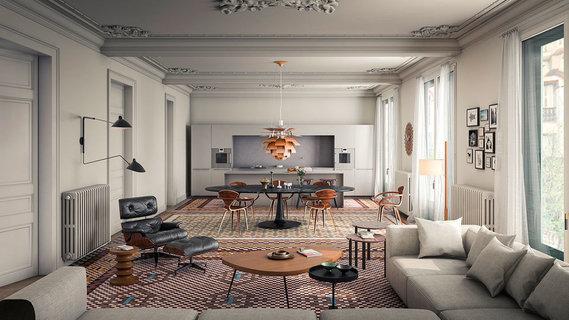每日豪宅 | 精心修复的巴塞罗那历史建筑顶层公寓