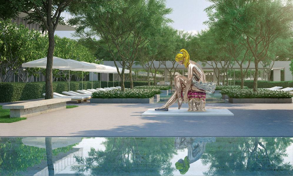 Oceana Bal Harbour私人餐厅的户外庭院将建造一座以杰夫·昆斯(Jeff Koons)名作《芭蕾舞女坐像》(Seated Ballerina)为原型的雕像。<br />