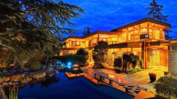 每日豪宅 | 坐拥私人海滩的温哥华岛现代滨水住宅