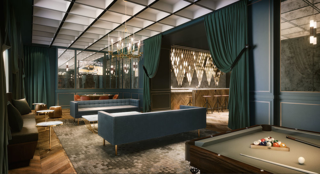 Designed by Krista Ninivaggi of K&CO in New York, this chic game room for The Greenpoint in Brook