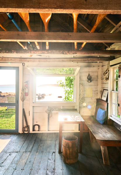 The table inside the waterfront shack where E.B. White would write.