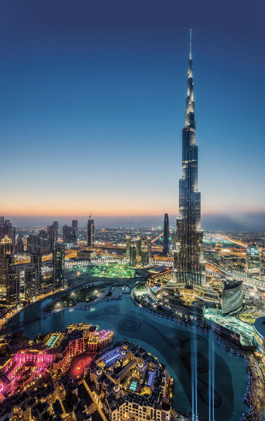 Burj Khalifa, in Dubai, tops off at 828 meters.
