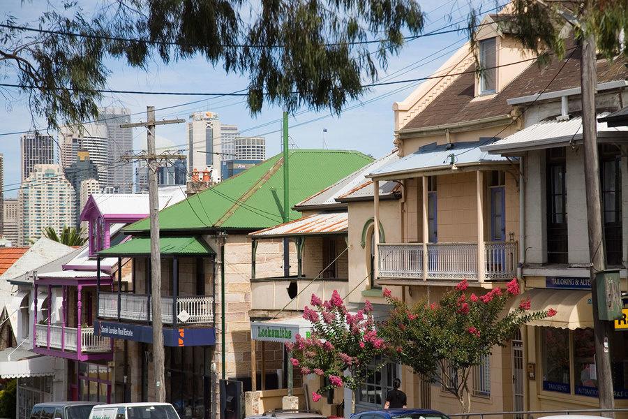 Heritage buildings on Darling Street in Balmain, Sydney<br />