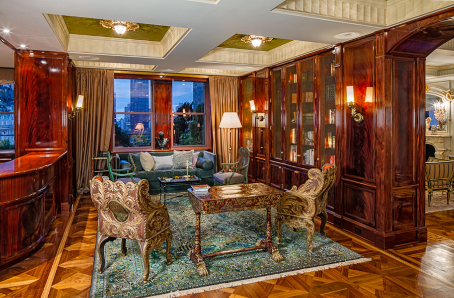 An interior view of the penthouse on the 18th floor of New York City's Sherry-Netherland hotel buildi