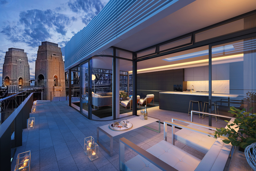 A penthouse terrace view at Aqualuna in Sydney