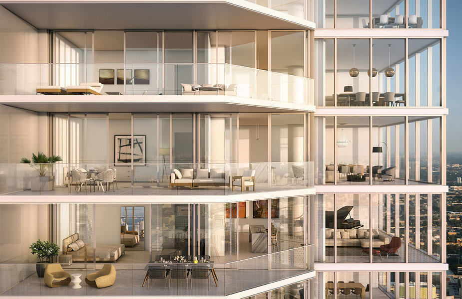 An exterior rendering of One River Point, a Rafael Viñoly-designed development in Miami