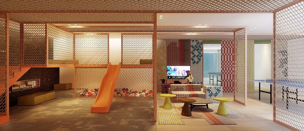 Soft surfaces and different activity zones define this game room designed by Patricia Urquiola for Li