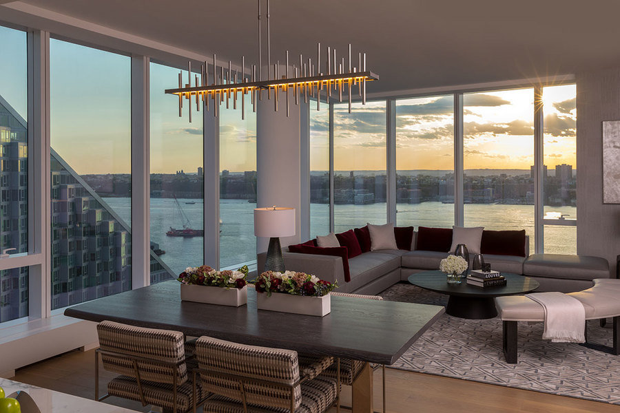 Designed by Jeffrey Beers, this apartment in One West End in New York City plays with vertical and ho