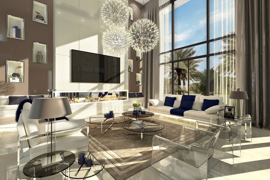 Pictured is an interior view of a four-bedroom modern townhouse in Saadiyat Island. This newly develo