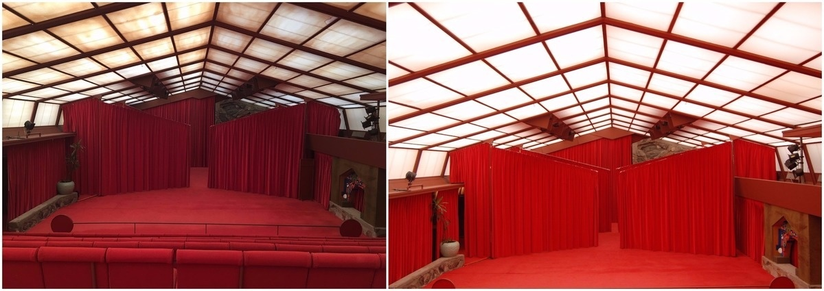 Before and after photos show the work put into restoring the music pavilion of Frank Lloyd's Wright's