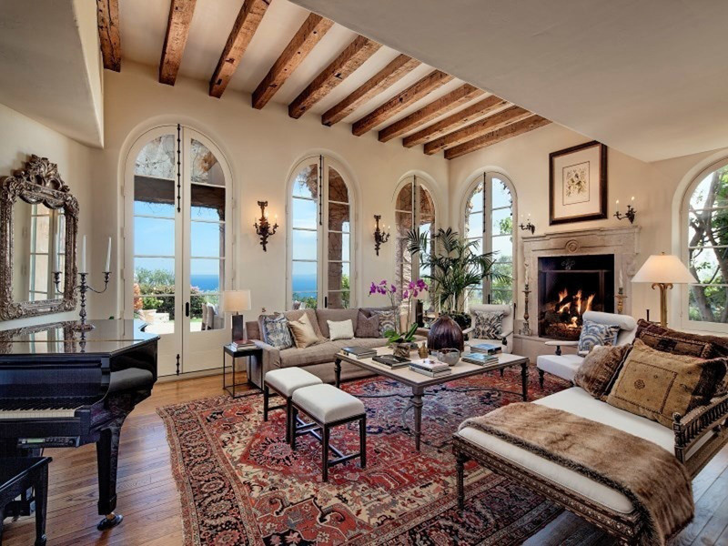 An interior view of Jeff Bridges's former Montecito Home